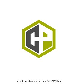 Initial letters CP negative space hexagon shape logo green black gray