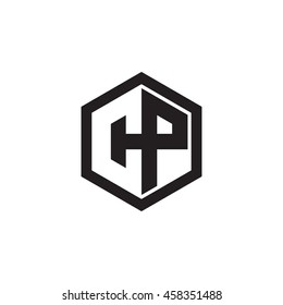 Initial letters CP negative space hexagon shape monogram logo