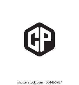 Initial letters CP rounded hexagon shape monogram black simple modern logo