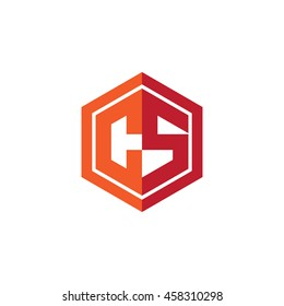 Initial letters CS hexagon shape logo red orange