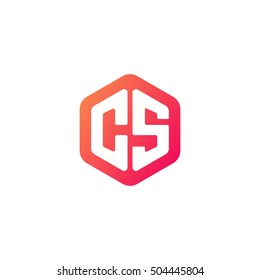 Initial letters CS rounded hexagon shape red orange simple modern logo