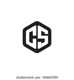 Initial letters CS rounded hexagon shape monogram black simple modern logo