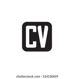 Initial letters CV rounded square shape monogram black simple logo