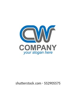 Initial Letters CW Blue Logo Linked Design Template