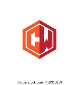 Initial letters CW hexagon shape logo red orange