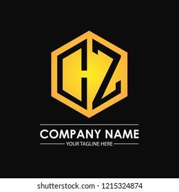 Initial letters CZ hexagon shape logo design black gold