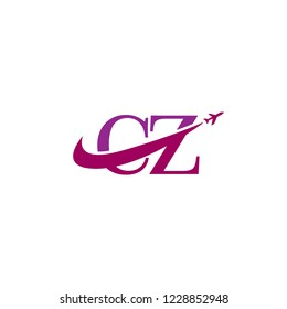 Initial Letters CZ Travel Logo Design with Aircraft Airplane and Swoosh Icon