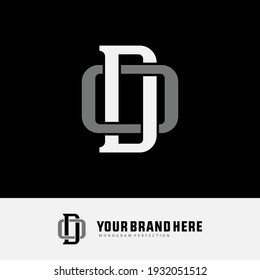 Initial letters D, O, DO or OD overlapping, interlock, monogram logo, white and gray color on black background