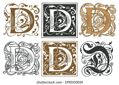 Initial letters D with vintage baroque ornamentations. Vector uppercase letters D with floral decorations. Beautiful filigree capital letter to use for monogram, logo, emblem, card, invitation, label