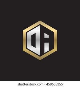 Initial letters DA, OA, negative space hexagon shape logo silver gold
