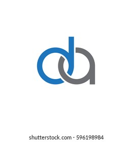 Initial letters da, round linked chain shape lowercase logo modern design blue gray