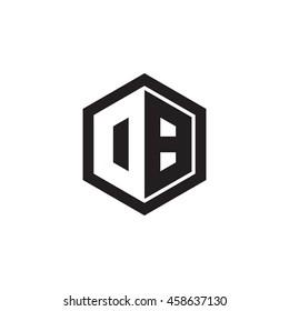 Initial letters DB, OB, negative space hexagon shape monogram logo