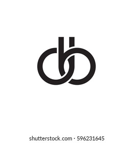 Initial letters db, round linked chain shape lowercase logo modern design monogram black
