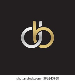 Initial letters db, round linked chain shape lowercase logo modern design silver gold
