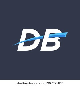 Initial letters DB vector illustrations designs with overlapping swoosh for company logo on black dark blue background.
