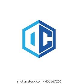 Initial letters DC, OC, negative space hexagon shape logo blue