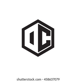 Initial letters DC, OC, negative space hexagon shape monogram logo
