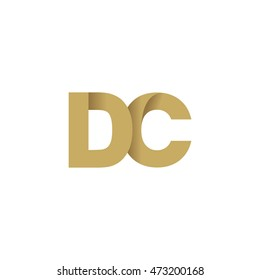 Initial letters DC overlapping fold logo brown gold