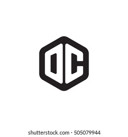 Initial letters DC rounded hexagon shape monogram black simple modern logo