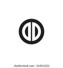 Initial letters DD circle shape monogram black simple logo