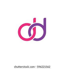 Initial letters dd, round linked chain shape lowercase logo modern design pink purple