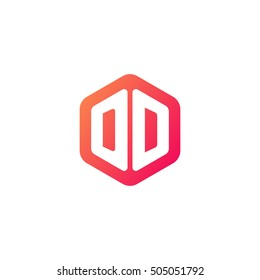 Initial letters DD rounded hexagon shape red orange simple modern logo
