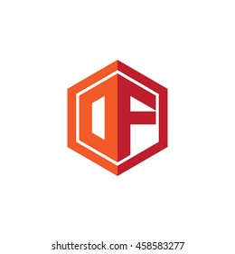 Initial letters DF, OF, hexagon shape logo red orange