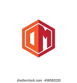 Initial letters DM, OM, hexagon shape logo red orange