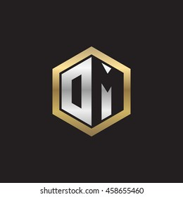 Initial letters DM, OM, negative space hexagon shape logo silver gold