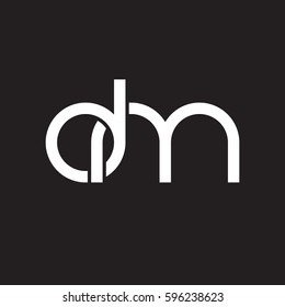 Initial letters dm, round linked chain shape lowercase logo modern design white black background