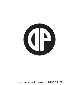 Initial letters DP circle shape monogram black simple logo