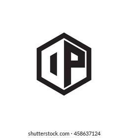Initial letters DP, OP, negative space hexagon shape monogram logo