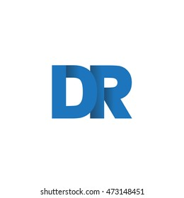 Initial letters DR overlapping fold logo blue