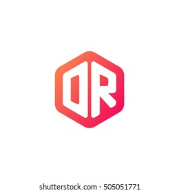 Initial letters DR rounded hexagon shape red orange simple modern logo