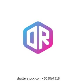 Initial letters DR rounded hexagon shape blue pink purple simple modern logo