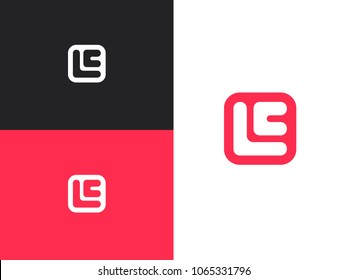 Initial letters E, L and C in square rounded shape. Logo icon design template elements.