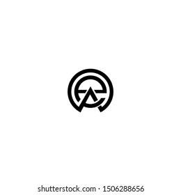 Initial letters ea, round linked chain shape lowercase logo modern design monogram black