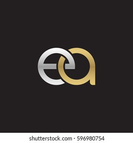 Initial letters ea, round linked chain shape lowercase logo modern design silver gold