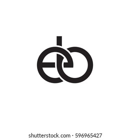 Initial letters eb, round linked chain shape lowercase logo modern design monogram black