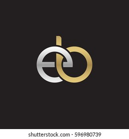 Initial letters eb, round linked chain shape lowercase logo modern design silver gold