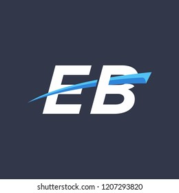 Initial letters EB vector illustrations designs with overlapping swoosh for company logo on black dark blue background.