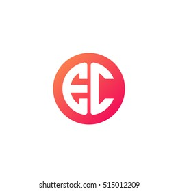 Initial letters EC circle shape red orange simple logo