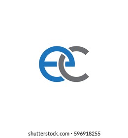 Initial letters ec, round linked chain shape lowercase logo modern design blue gray