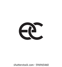 Initial letters ec, round linked chain shape lowercase logo modern design monogram black