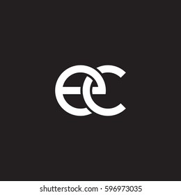 Initial letters ec, round linked chain shape lowercase logo modern design white black background