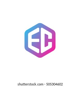 Initial letters EC rounded hexagon shape blue pink purple simple modern logo