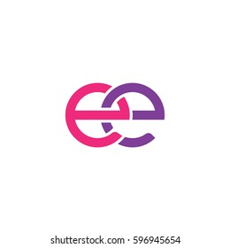 Initial letters ee, round linked chain shape lowercase logo modern design pink purple