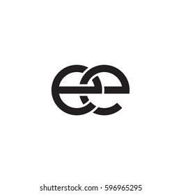 Initial letters ee, round linked chain shape lowercase logo modern design monogram black