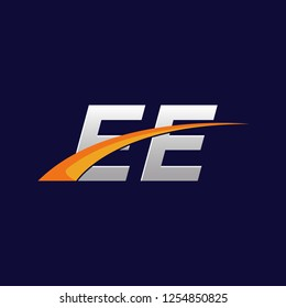 Initial letters EE vector illustrations designs with overlapping orange swoosh vector for company logo on dark blue background.