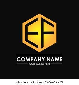 Initial letters EF hexagon shape logo design black gold